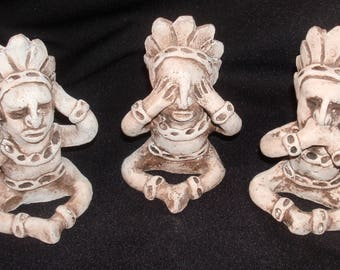 Trio of HEAR No SPEAK No SEE No Evil ~ Native Aztec Indian Clay-Pottery Figures