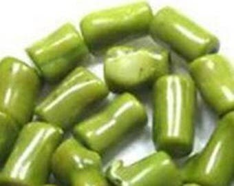 """2 """"bamboo"""" 16x20mm lime green stone beads"""