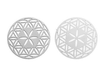 2 charms filigree flower of life (2) silver metal 31mm