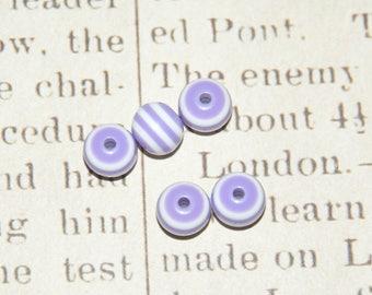 10 round striped white/purple acrylic beads 6mm