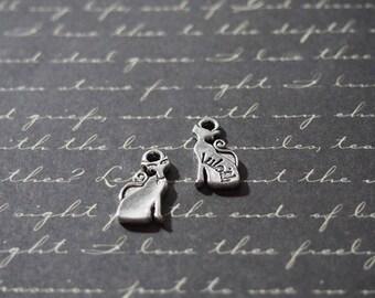 2 mini charms 17x8mm Silver Fox
