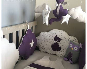 Bumper clouds in purple, grey and white cotton printed grey stars with stars