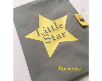 Health book in gray cotton with a yellow mustache and little boy sign