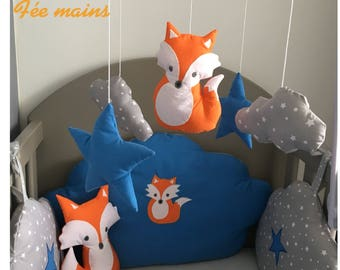 Mobile musical baby with clouds, Fox and gray, orange and blue stars