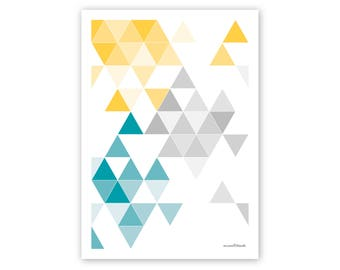 geometrical print, print, poster, art print, yellow, petrol, geometric poster, colorful poster, colourful, triangular, triangles, geometry