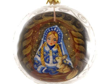 Snow Maiden Reverse Hand Painted Christmas Ball.
