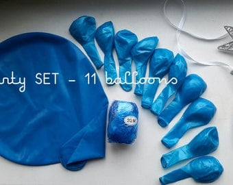 Blue  balloons party set - 11 balloons mix size + curling  ribbon