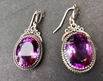 Amethyst Faceted Sterling Silver Victorian Style Drop Earrings