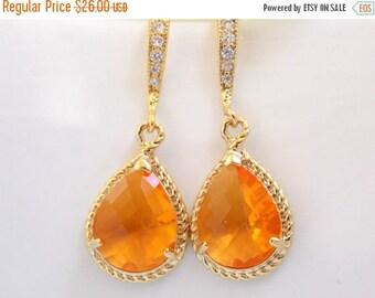 SALE Wedding Jewelry, Orange Earrings, Tangerine, Carnelian, Gold, Cubic Zirconia, Bridesmaid Jewelry, Bridesmaid Earrings, Dangle, Gift, Dr