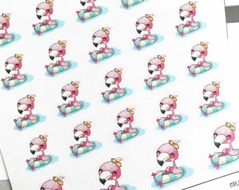 Mini Planner Stickers : 074 Pool Day with Pinky Flamingo / Kawaii