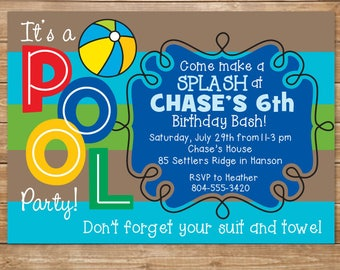Printable Pool Birthday Party Invitation, Swimming Party, Boys Pool Party, DIY, Personalized