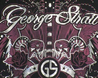 Women's Top. George Strait Shirt. Vintage T-shirt. Graphic Tee. Retro Black Large. Country Music. Guitar Musician. Country Streetwear Chic.