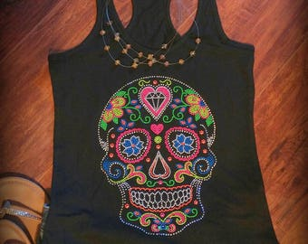Sugar Skull - Day of the Dead Shirt - Neon - Tank top - Racer back Tank