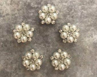 Rhinestone buttons, rhinestone centers, headband supplies, silver button,silver and rhinestone, flat back button,