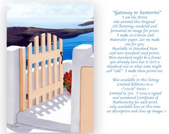 Santorini Art/blue/gate/Greek/yellow/ sea/clouds/geraniums/shadows/made by Artist/canvas or paper/Prints from Painting/Realism/standard-size