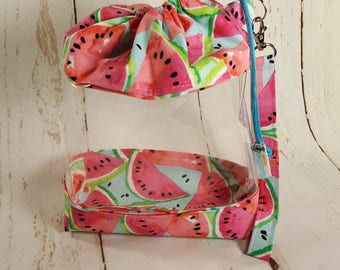 Watermelon (Pink) Clear Knitting Project Bag, Clear Vinyl  Bag, Sock Knitting Bag, Clear project bag CVS0035