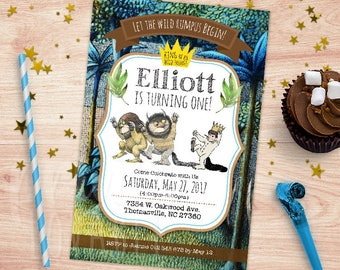 DIGITAL Where the Wild Things are Birthday Invitation & FREE tags. Where the Wild Things Are Favours, Where the Wild Things Are Party