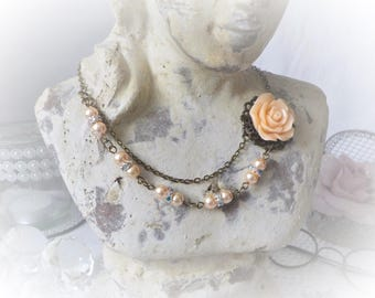 Shabby apricot flower Choker necklace
