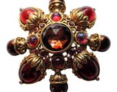 Joan Rivers Stylized Gold Cross Design Brooch/Pin With Red Stones Vintage 1990 Bridal Pin Classics Collection Holiday Pin
