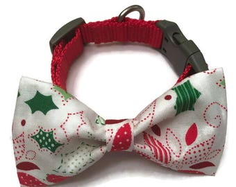 Christmas dog bow, winter dog bow, red and green dog bow, holiday dog bow tie, Christmas flowers dog bow, dog accessories, dapper dog