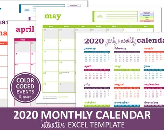Deluxe Event Calendar - 2020 | Printable Excel Calendar Template | Monthly Calendar | Instant Digital Download