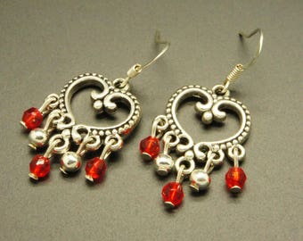 Romantic faceted red and Silver earrings