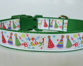 Happy Birthday Party Hat Dog Collar - Green - Ready to Ship!