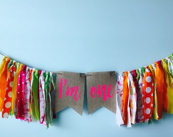 Birthday banner ~smash cake banner ~ summer birthday banner ~ pineapples and flamingos ~ high chair ~ photo prop banner