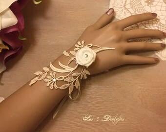 Bracelet ivory rhinestone and pink lace ivory wedding * 3 lace *.