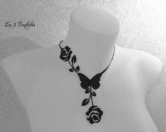 Tattoo wedding necklace pattern black roses * 3 lace *.