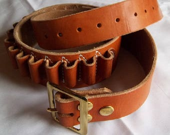 Leather Cartridge Belts in Russet and Top Grain Leather Pouches, 2.25 in wide, Top Grain Leather