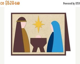 SALE Christmas In July Nativity Card , Blank inside , North Star , Baby , Christmas , Holiday , December , New Years, PaperCut