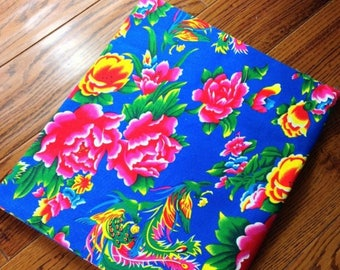 chinese fabric cotton flowers blue 0.5m