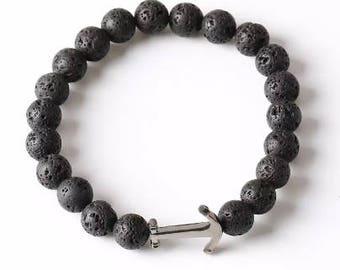 Natural Lava Stone Diffuser Bracelet - Gun Metal Anchor