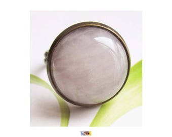 "Bronze brass cabochon ring round ""Rose quartz cabochon stone"""