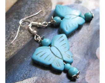 """Earrings """"butterfly Howlite Turquoise and assorted beads"""" on silver metal"""