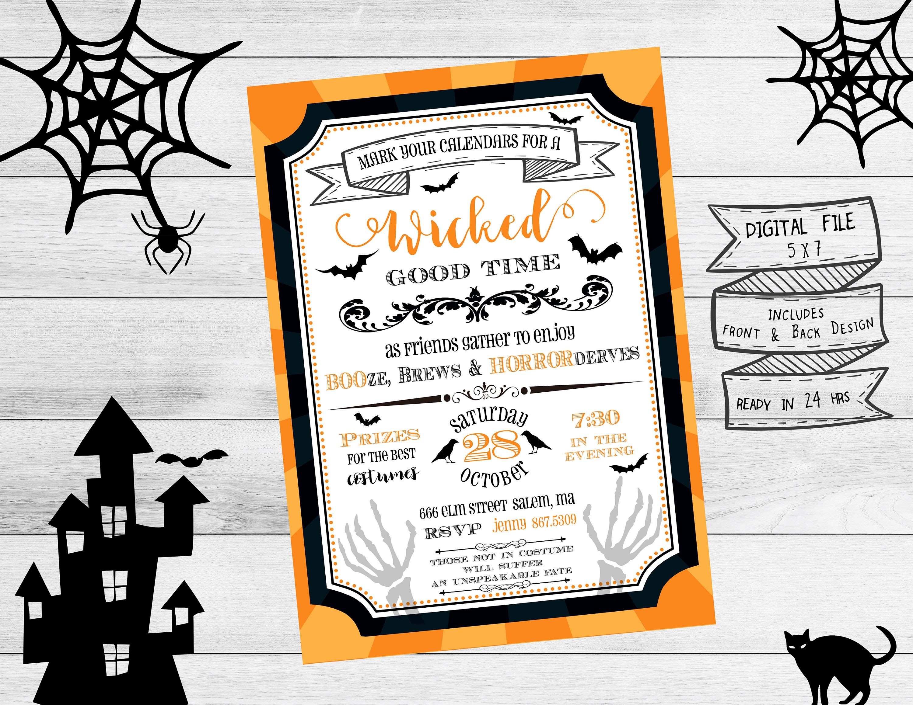 Adult Halloween Party Invitation, Halloween Party, Spooky ...