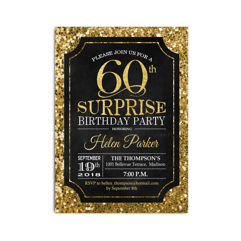 Surprise 60th Birthday Invitation Any Age Glitter Gold Black Chalkboard Digital Printable