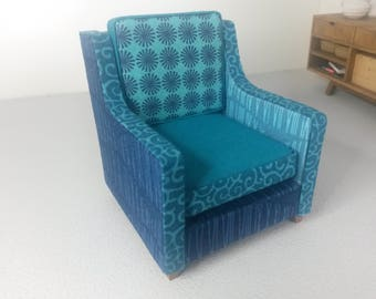Miniature Modern 4 in 1 Mismatch Armchair 1:12 Scale