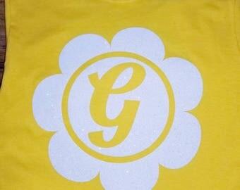 Girls Flower Initial T-Shirt
