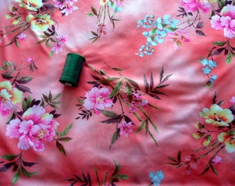 "Floral print nylon jersey knit fabric-Dressmaking fabric-Slightly stretch very sleek fabric-Flower print jersey fabric-SIZE 56"" long/44""wide"