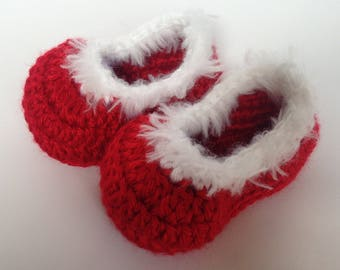 Christmas Baby Booties. Baby Christmas shoes. Red Booties.