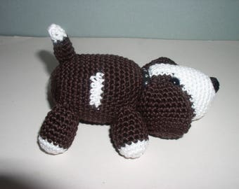 Little amigurumi dog is looking for his bone