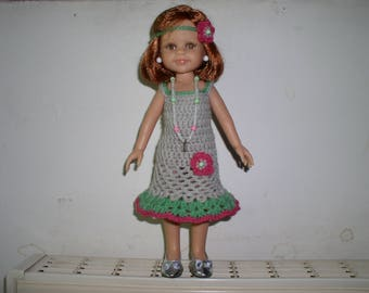 dress, headband and necklace for doll paola reina