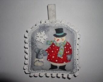his snowflake and snowman snow Christmas pillow