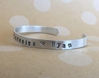 Hand Stamped Bracelet  Custom Cuff