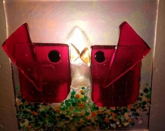 Kissing Red Birds Handmade Fused Glass Night Light