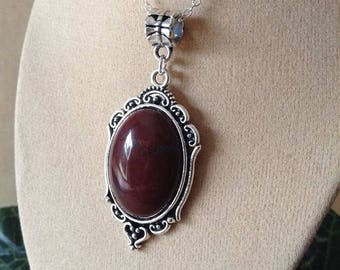 Silver necklace, red Jasper Medallion type pendant