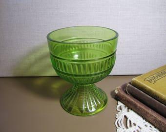 Green Glass Pedestal Dish