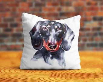 Dachshund PillowCase Dog Throw Pillow Name Pet Portrait Custom Toss Pillow Silk PillowCase Satin Personalized Pillow Cover Dog Lover Gift